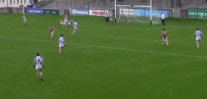 MAnnion dinks the ball over the keeper into the Boden net